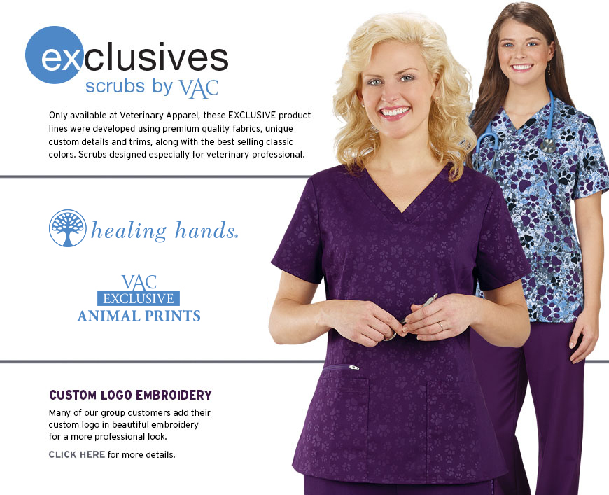 Only available at Veterinary Apparel, these exclusive product lines were developed using premium quality fabrics, unique custom details and trims, along with the best selling classic colors. Designed for durability and fun, especially for the veterinary industry.  	•	Exclusive Trims and Embroidery Accents 	•	Best Selling Styles and Colors 	•	Traditional and Fashion Fabrics High quality scrubs customized for veterinarians. Paw Trim Collection, Hearts and Paws Stretch Collection, VAC Animal Print Scrubs and VAC Pure Essentials Plus Scrubs.