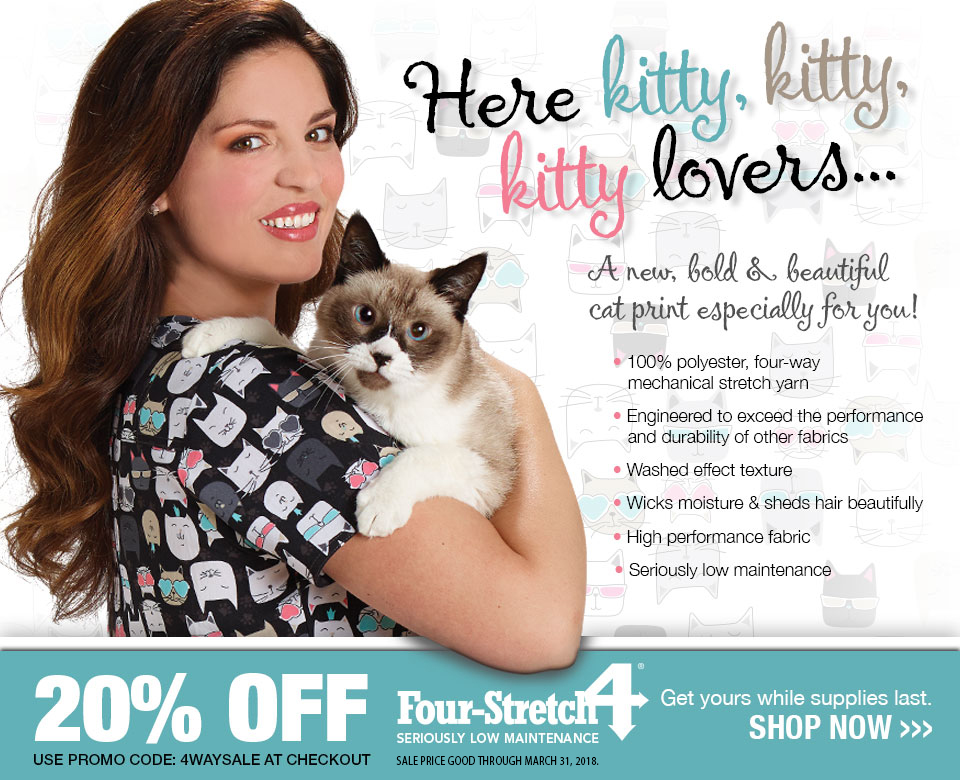 Veterinary Apparel Company Introduces New Cat Print Scrub Tops