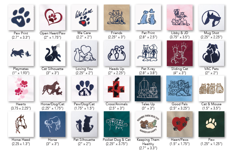 Standard thread colors are navy or white unless otherwise requested.  Multi-colored designs are as shown. Indicate design by name when ordering.