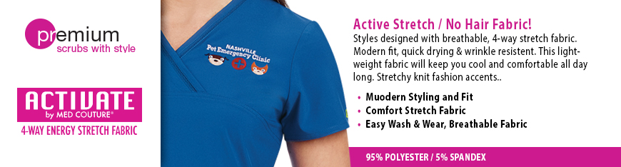 Activate Med Couture scrubs from Veterinary Apparel Company offers fashion, details and innovative fabrics. EZ-Flex stretch fabric makes these scrubs extremely comfortable for all day at the clinic. This scrub line offers contrast stitching and embroidered logo, welt pockets and inside pockets for extra storage. Fun coordinating t-shirts are available here too! 55% cotton / 42% polyester / 3% spandex.