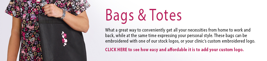 Veterinary Apparel Company offers you a great way to conveniently get all your necessities from home to work and back, while at the same time expressing your personal style. These bags and totes can be embroidered with one of our stock logos, or your custom embroidered logo.