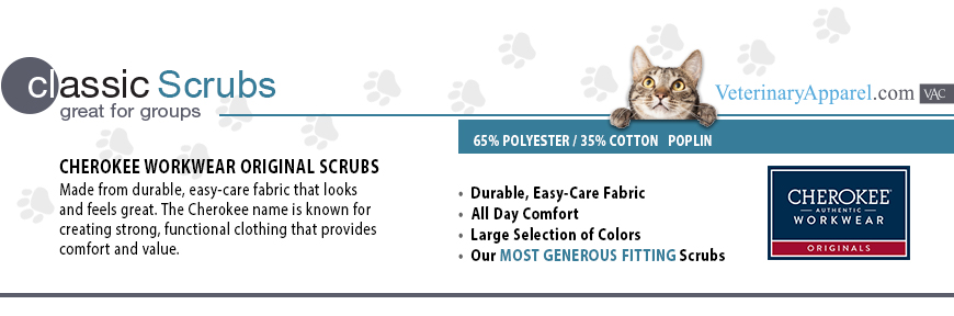 Cherokee Workwear from Veterinary Apparel Company is a great choice for groups. Made form durable, easy-care fabric that looks and feels great. The Cherokee name is known for creating strong, functional clothing that provides comfort and value. These scrubs offer durable, easy-care fabric, all day comfort and a large selection of colors. 65% polyester / 35% cotton poplin.