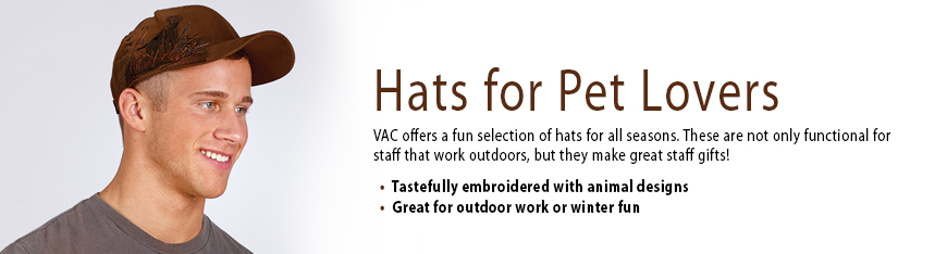 Veterinary Apparel Company offers a fun selection of hats for all seasons, from baseball caps to stocking caps. These are not only functional for staff that work outdoors, but they make great gifts. Tastefully embroidered with animal designs.
