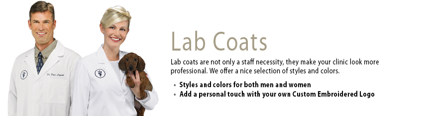 Lab coats are not only a staff necessity, they make your clinic look more professional. We offer a nice selection of styles and colors for both men and women. Add a personal touch with your own custom embroidery, only from Veterinary Apparel Company.
