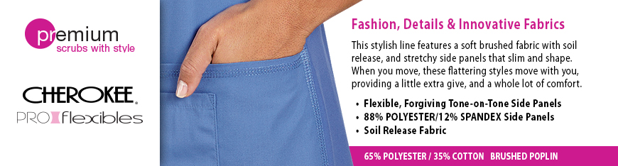 Cherokee Proflexibles from Veterinary Apparel Company offer fashion, details and innovative fabrics. This stylish line of scrubs features a soft brushed fabric with soil release, and stretchy side panels made of 88% polyester / 12% spandex that slimming shape. When you move, these flattering styles move with you providing a little extra give, and a whole lot of comfort. 65% polyester / 35% brushed cotton poplin body with flexible, forgiving tone-on-tone side panels.